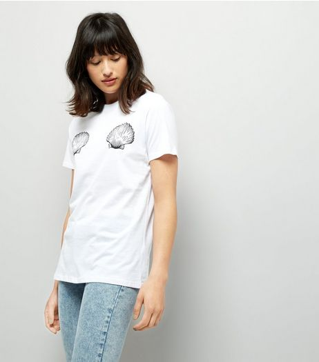 White Shell Print T-Shirt | New Look