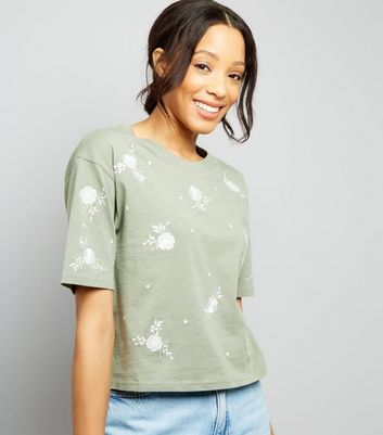 Khaki Floral Embroidered T-Shirt