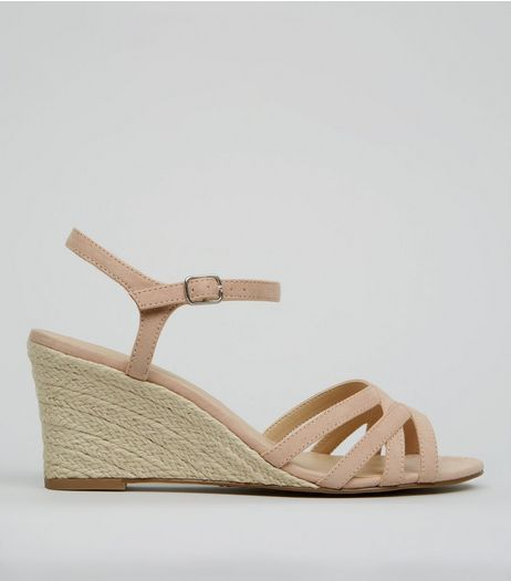 Nude Pink Suedette Wedges  | New Look