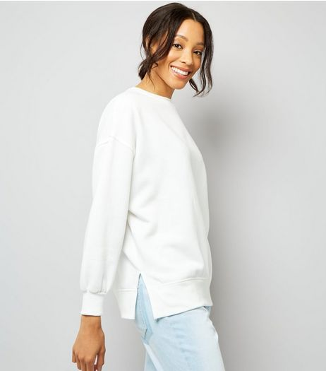 White Slouchy Split Side Sweater | New Look