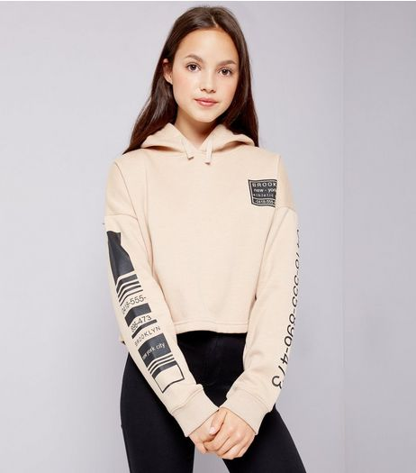 Teens Stone Number Print Sleeve Hoodie | New Look