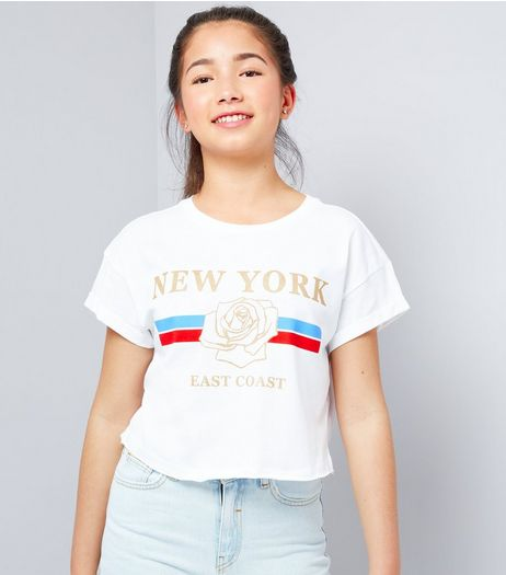 Teens White New York Print Cropped T-Shirt | New Look