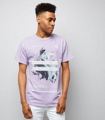 Lilac Brushstroke Stripe Print T-Shirt