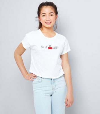 Teens White You Are Cherry Sweet Cropped T-Shirt