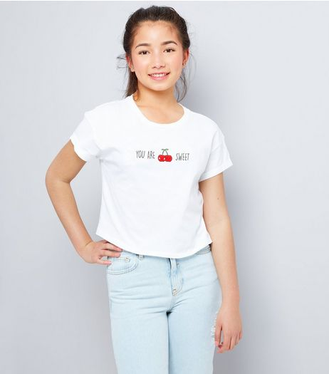 Teens White You Are Cherry Sweet Cropped T-Shirt | New Look