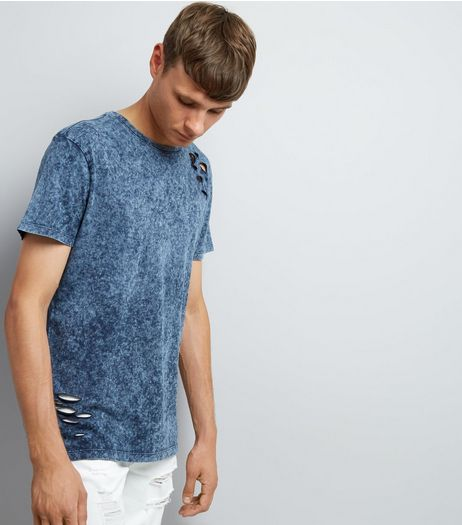 Blue Ripped Acid Wash T-Shirt | New Look
