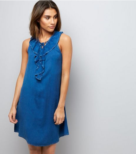 Blue Vanilla Blue Frill Lace Up Front Denim Dress | New Look