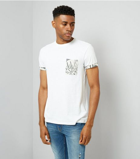 White Leaf Print Pocket T-Shirt | New Look