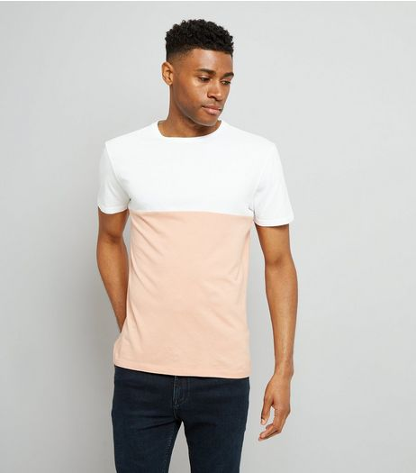 Pink Colour Block T-Shirt | New Look