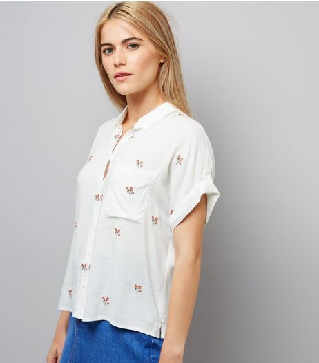 Cream Embroidered Short Sleeve Shirt | New Look