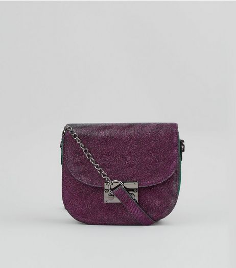 Purple Glitter Cross Body Bag | New Look