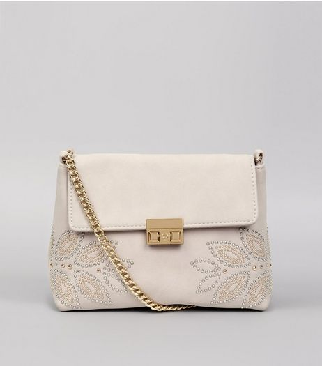 Shell Pink Stud Embellished Cross Body Bag  | New Look