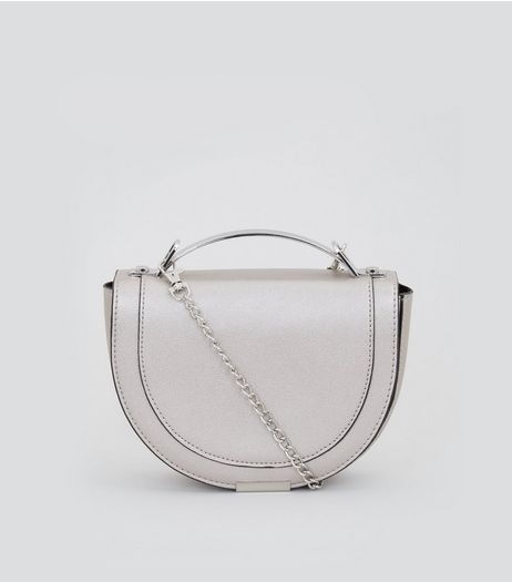 Silver Curved Metal Handle Cross Body Bag | New Look