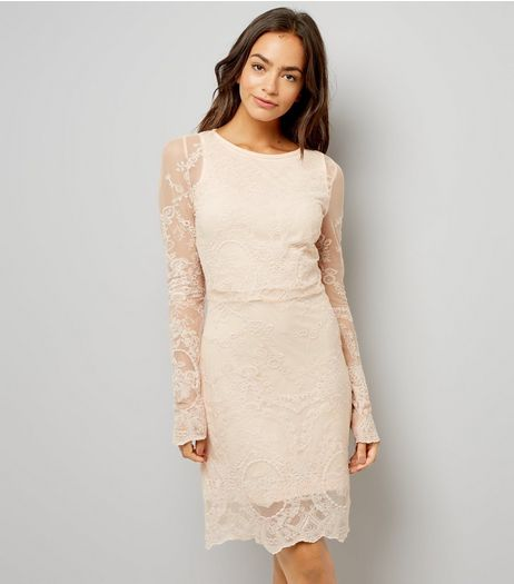 Mela Shell Pink Lace Long Sleeve Dress | New Look