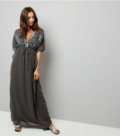 Mela Dark Grey Embellished Kaftan Dress | New Look