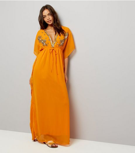 Mela Orange Embellished Kaftan Dress | New Look