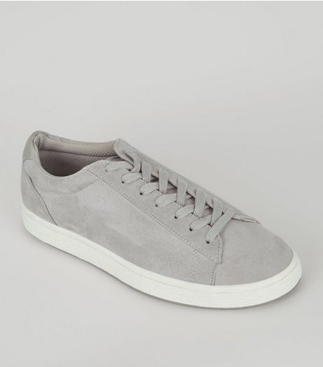 Grey Suedette Lace Up Trainers  | New Look
