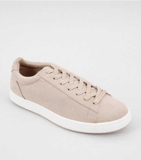 Cream Suedette Lace Up Trainers | New Look
