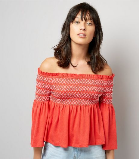 Red Contrast Shirred Panel Bardot Neck Top | New Look