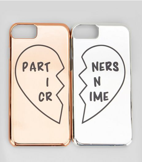 2 Pack Rose Gold and Silver Partners In Crime iPhone Cases | New Look