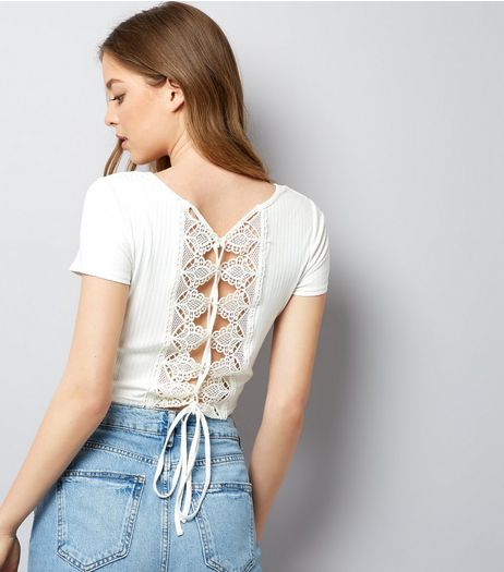 White Lace Up Back Ribbed T-Shirt | New Look