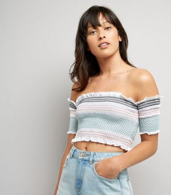 White Stripe Shirred Bardot Neck Crop Top
