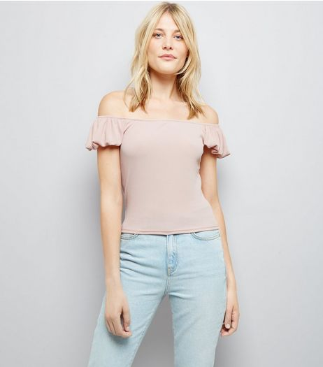 Pink Bardot Neck T-Shirt  | New Look