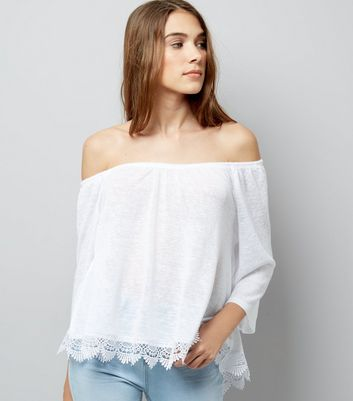 White Crochet Lace Trim Bardot Neck Top