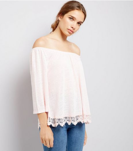 Pink Crochet Lace Trim Bardot Neck Top | New Look
