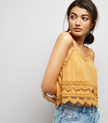 Yellow Lace Trim Jersey Cami