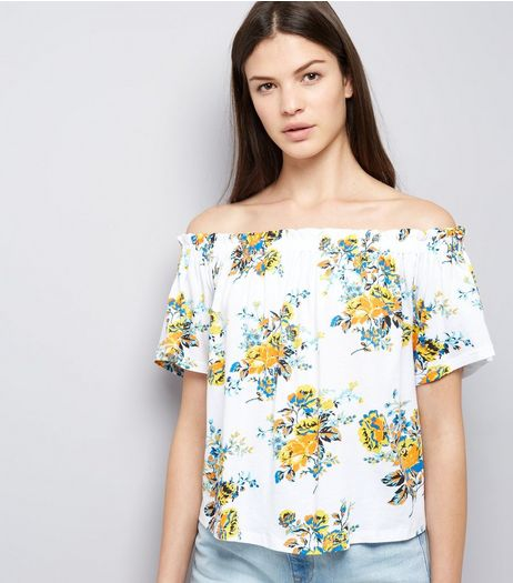 White Floral Print Bardot Top | New Look