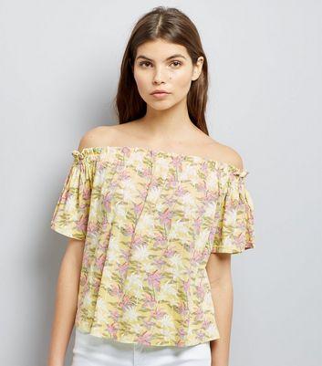 Yellow Palm Tree Print Bardot Top