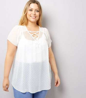 Curves Cream Lace Sheer Blouse
