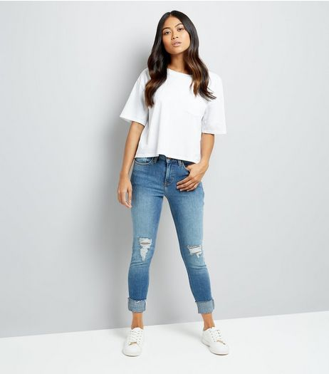 Petite Blue Ripped Turn Up Relaxed Skinny Jeans | New Look