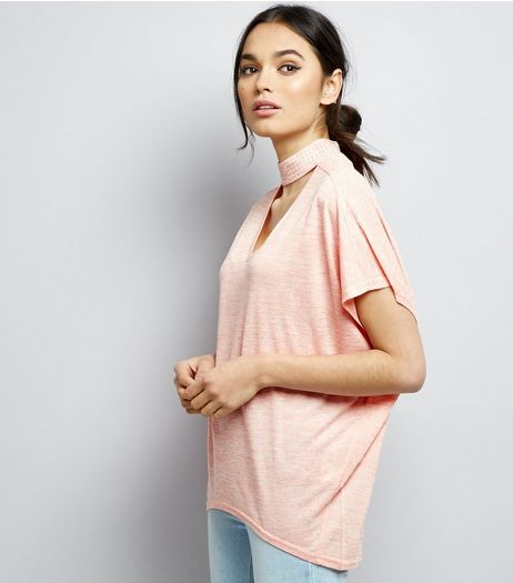 Blue Vanilla Pink Choker Neck T-Shirt  | New Look