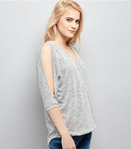 Grey V Neck Cold Shoulder Top | New Look