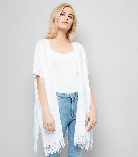 White Crochet Lace Trim Kimono  | New Look