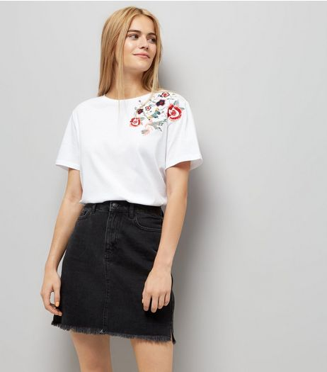 White Floral Bird Embroidered T-Shirt | New Look
