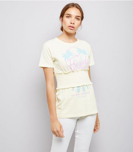 Pale Yellow Florida Print Shirred Waist T-Shirt | New Look