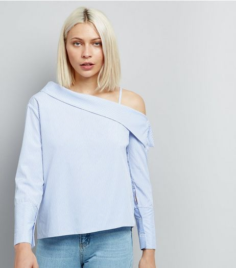 Cameo Rose Blue Stripe Off the Shoulder Top  | New Look