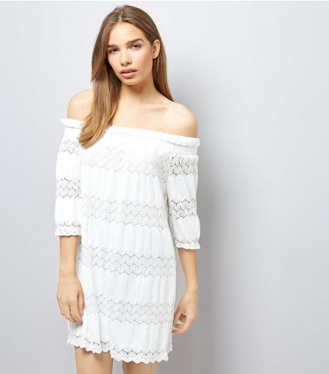 White Lace Panel Bardot Dress | New Look