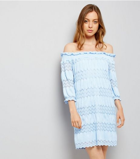 Pale Blue Lace Panel Bardot Dress | New Look