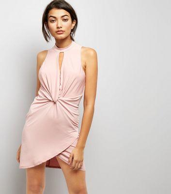 Pink Twist Waist Bodycon Dress