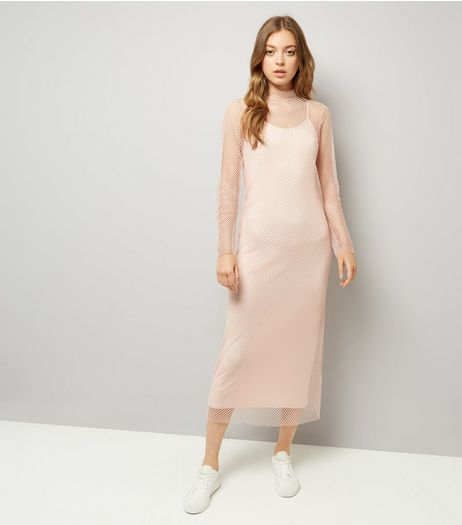 Shell Pink Fishnet Maxi Dress  | New Look