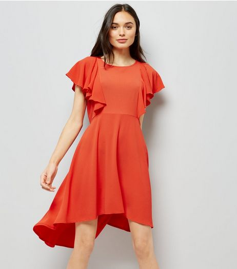 Red Dip Hem Frill Trim Dress | New Look