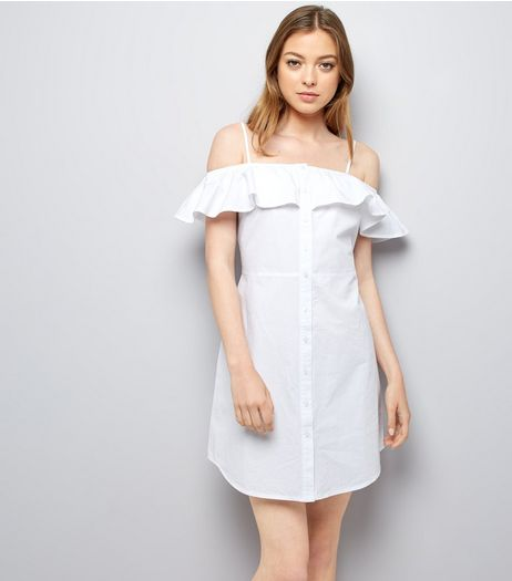 White Button Front Cold Shoulder Sundress | New Look
