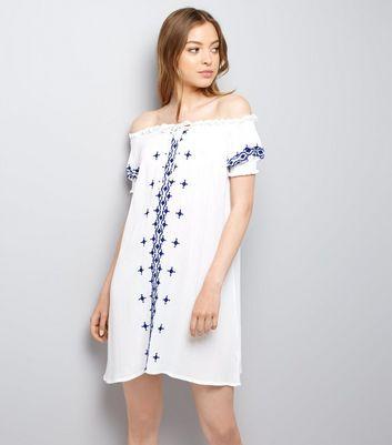 Blue Embroidered Bardot Neck Dress