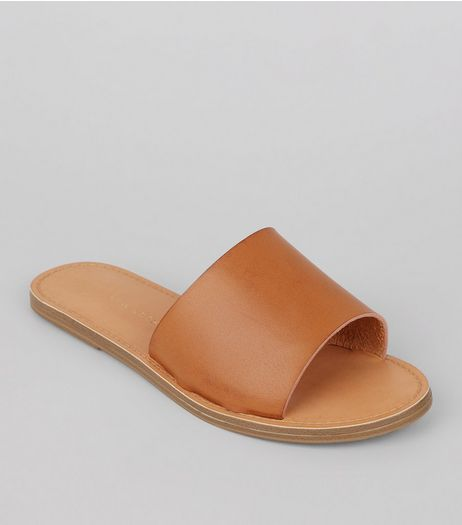 Wide Fit Tan Mules | New Look