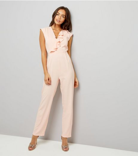 Mela Shell Pink V Neck Frill Trim Jumpsuit | New Look