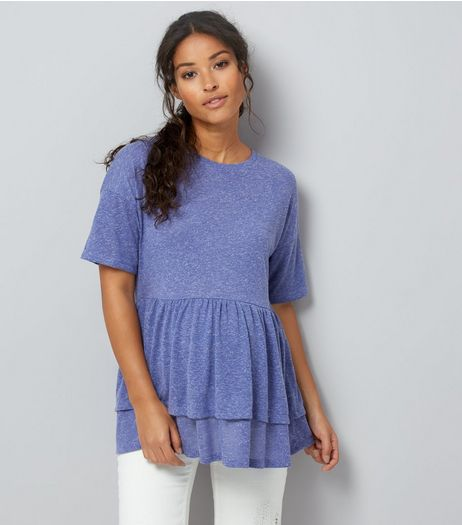 Maternity Blue Double Peplum Hem T-Shirt | New Look